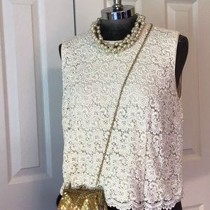 Talbots lace embroidery sleeveless top Sz 10